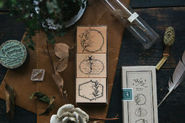 OURS Flower Label A DIY Rubber Stamp Set