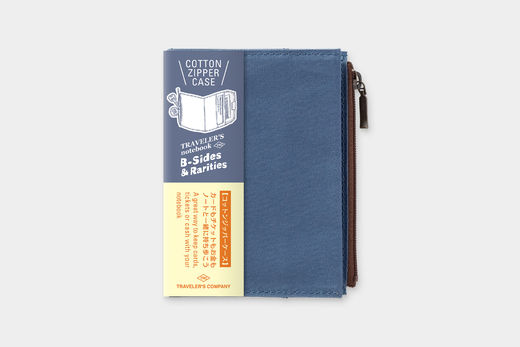 Traveler's Notebook Passport Size: Cotton Zipper Case Blue