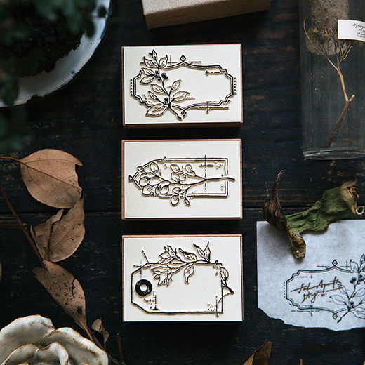 OURS Flower Label B DIY Rubber Stamp Set