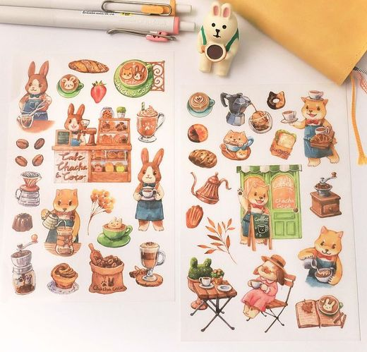 Maruco Art | Chacha & Coco Cafe Transfer Stickers